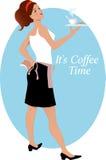 女服务员用咖啡和饼干 免版税库存图片