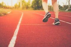 女服跑的体育鞋子在连续法院背景中 免版税图库摄影