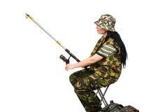 女渔翁捕鱼 图库摄影