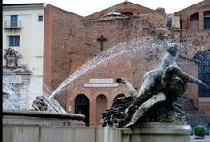 女游泳家的喷泉在广场della Repubblica的在罗马 库存图片