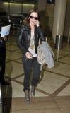 女演员机场松驰直言的埃米莉 库存照片