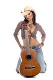 女牛仔吉他 库存照片