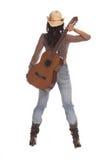 女牛仔吉他 免版税库存图片