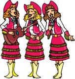 女牛仔唱歌 库存图片