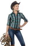 女牛仔照片有麻线的 免版税图库摄影