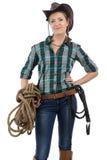 女牛仔的图象有麻线的 免版税库存照片