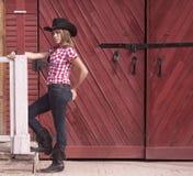 女牛仔青少年的模型 免版税库存图片
