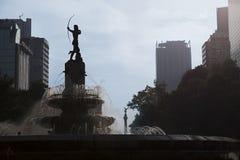 女猎人戴安娜喷泉(Fuente de la戴安娜Cazadora)在墨西哥DF,墨西哥 库存图片