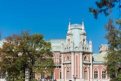 女王凯瑟琳宫殿在Tsaritsyno 免版税库存照片