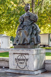 女王在女王玛丽亚II夫人正方形的玛丽亚II夫人雕象 免版税库存照片
