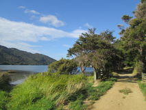 从女王夏洛特轨道的看法,新西兰 免版税图库摄影