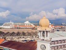 女王维多利亚纪念钟楼-在槟榔岛` s殖民地居民天期间,塔在1897年被委任了, 库存图片