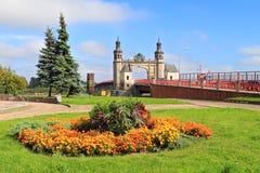 女王路易丝,市的视域的桥梁Sovetsk 免版税库存图片