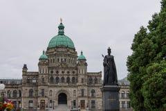 女王维多利亚,不列颠哥伦比亚省雕象议会大厦,加拿大 库存照片