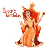 女王/王后生日庆祝 也corel凹道例证向量 皇族释放例证