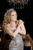 女王/王后,可爱的妇女,有冠的皇家人 库存照片