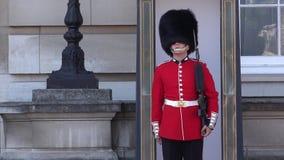 女王/王后` s在白金汉皇家住所前面的卫兵哨兵在伦敦 影视素材