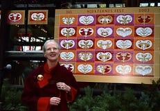 女王/王后MARGRETHE设计圣诞节邮票 库存图片