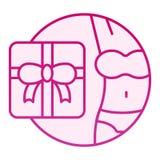 女用贴身内衣裤礼物平的象 妇女桃红色象的礼物在时髦平的样式 礼物盒梯度样式设计,设计为 向量例证