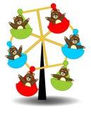 女用连杉衬裤涉及转盘 演奏玩具熊 有玩具熊的转盘 布朗玩具熊婴孩 滑稽的五颜六色的转盘 下跌 向量例证