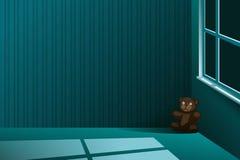 女用连杉衬裤熊在一间空的屋子的角落单独离开在晚上 库存例证