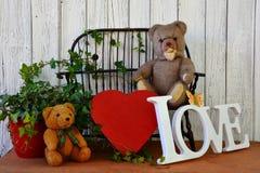 女用连杉衬裤-充满心脏和爱的熊-字法 库存照片