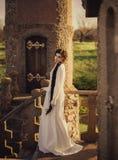 女睡袍的美丽的女孩 免版税图库摄影