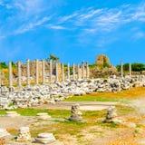 女神古老废墟偶然发生Tyche寺庙罗马帝国,边, 库存照片