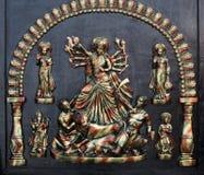 女神杜尔加,公平印地安的工艺品缩样  库存图片