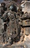 女神的图象Hoysaleshwara印度寺庙的, Halebid,卡纳塔克邦,印度 库存照片