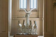 女神维多利亚骑马的雕象在四马二轮战车,阿尔塔雷della帕特里亚,罗马,意大利的 库存照片
