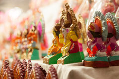 女神Lakshmi和Ganesha阁下在Dewali 库存照片