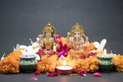 女神Lakshmi和Ganesha阁下 免版税图库摄影