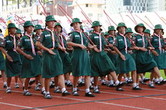 女童子军每年国庆节游行 图库摄影