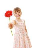 女花童一点红色微笑 库存照片