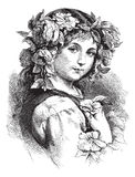 女花童头发她的葡萄酒妇女 皇族释放例证