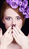 女花童组成红头发人样式 免版税库存照片