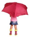 女衬衫的,裙子,有伞身分的胶靴小女孩 免版税库存图片