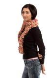 女装设计桃红色围巾 免版税图库摄影