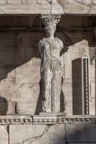 女象柱的门廊在雅典卫城的,Attica,希腊厄瑞克忒翁神庙 图库摄影