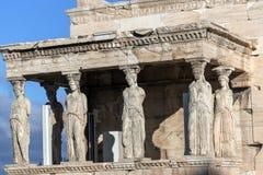 女象柱的门廊在雅典卫城的,Attica,希腊厄瑞克忒翁神庙 库存照片