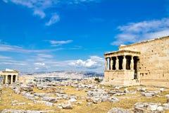 女象柱Erechtheum,上城,雅典,希腊 库存图片