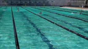 女运动员严谨地在以后的游泳竞争的仰泳训练 股票视频