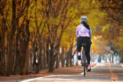 女运动员乘驾自行车,保留去的想法 免版税库存照片