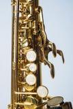 女高音半萨克斯管的上面 免版税库存照片