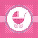 女婴公告卡片。传染媒介例证。 免版税库存照片
