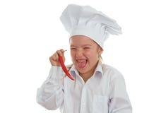 女婴厨师 库存照片