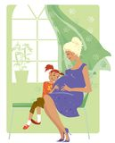 女婴听 免版税库存图片