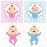 女婴和男婴婴儿 免版税库存照片