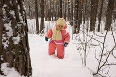 女婴在冬天森林里 库存照片